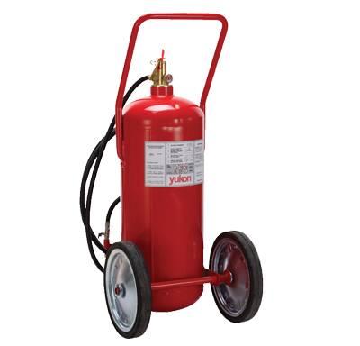Extintor 50L sobre ruedas a base de agua bajo presión.
